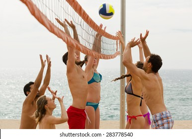 smiling american adults throwing ball over net and laughing