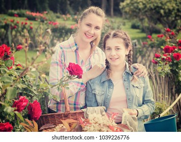 smiling american woman and teen holding a basket and standing in the park of roses.