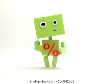 "Smiling android holds red symbol ""percent""/Robot with percent"
