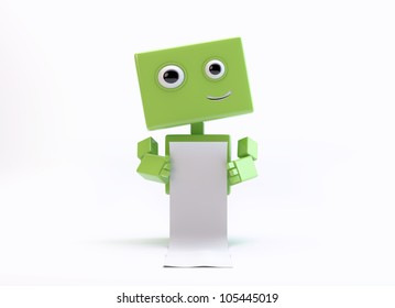 Smiling android toy holds white long list/Cute robot with empty list