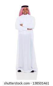 smiling arabian man full length portrait isolated on white background