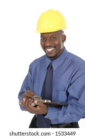 Smiling architect, engineer, or supervisor in yellow hardhat holding a clipboard and pen.