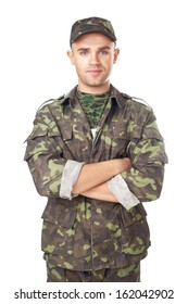 Smiling army soldier with his arms crossed isolated on white background