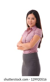 Smiling Asian Chinese Business Woman. Businesswoman in pink smiling looking at camera. Isolated on white background.