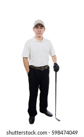Smiling Asian Chinese Man posing with Golf Club in isolated white background.