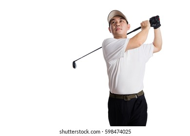 Smiling Asian Chinese Man Swinging Golf Club in isolated white background.