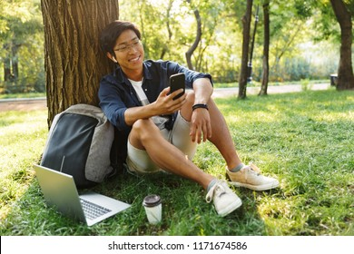 Smiling asian male student in eyeglasses using his smartphone while sitting near the tree in park