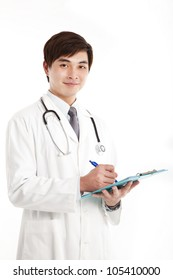 Smiling asian medical doctor with clipboard