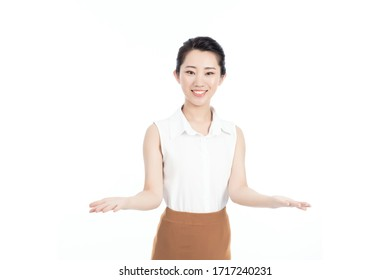 A smiling asian woman's hands arms outstretched to the front on isolated background.