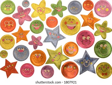 Smiling assorted happy face stickers isolated over white