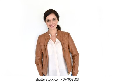 Smiling attractive brunette woman on white background