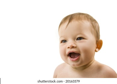 Smiling baby with big bright eyes