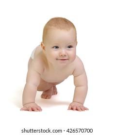 smiling  baby boy isolated on white