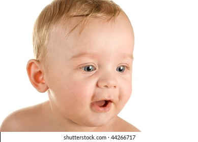 Smiling baby boy isolated on a white background