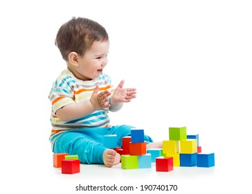 smiling baby building block toys