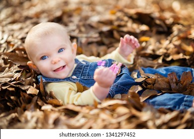 Smiling baby girl playing in leaves