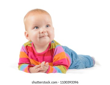 smiling baby in jeans