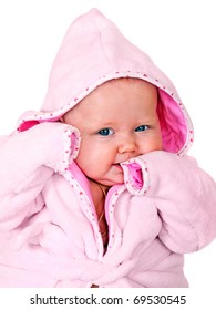 Smiling baby in pink bathrobe