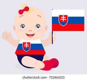 Smiling baby toddler, girl holding a Slovakia flag isolated on white background. Cartoon mascot. Holiday illustration to the Day of the country, Independence Day, Flag Day.