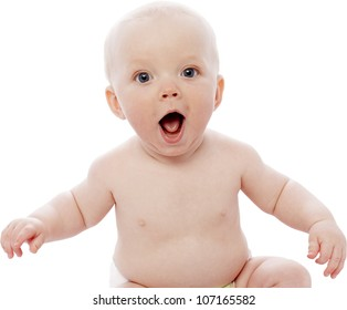 smiling baby with white background