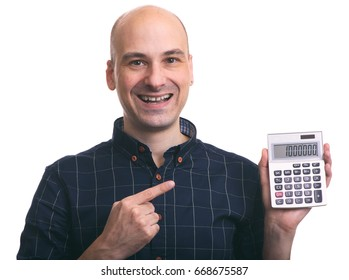 smiling bald man calculating isolated on white