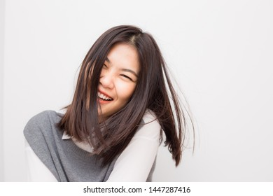 Smiling beautiful asian women on white background, Portrait women