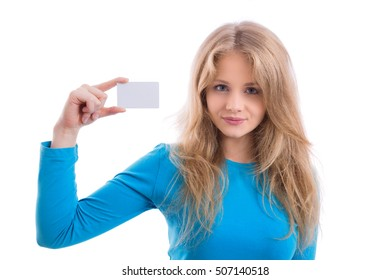 smiling beautiful blond showing blank business card, isolated