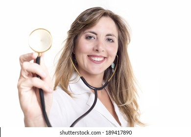 Smiling beautiful blond woman doctor with stethoscope isolated on white background