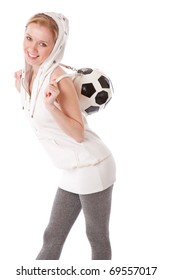 a smiling beautiful girl with a football ball on her back. isolated on a white background