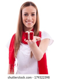 Smiling beautiful girl holding gift
