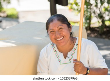 Smiling, Beautiful, Mexican Woman Housekeeper at a Resort in Mexico