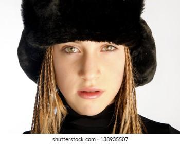 Smiling Beautiful Woman In Black Fur Hat