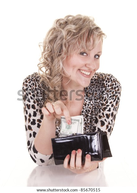 Smiling beautiful woman with cash