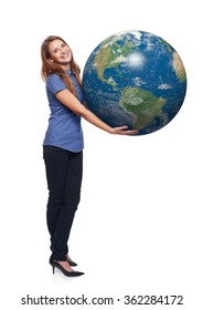 Smiling beautiful woman in full length holding earth globe in her hands, American continent in front, over white background