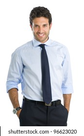 Smiling beautiful young businessman looking at camera with satisfaction
