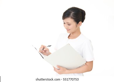 Smiling beauty expert