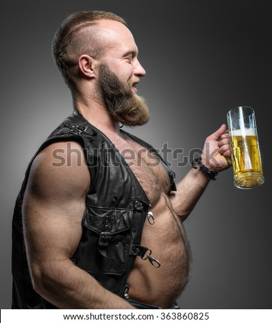 Naked men with beer guts