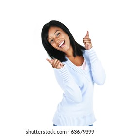 Smiling black woman pointing up isolated on white background