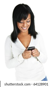 Smiling black woman texting on cell phone portrait isolated on white background