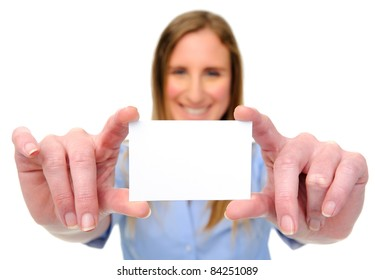Smiling blond woman holding an empty card, copyspace for business details
