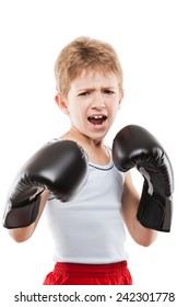 Smiling boxer child boy in boxing gloves training martial art sport white isolated