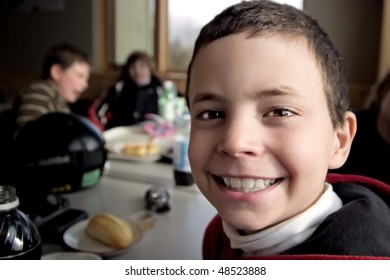 Smiling Boy After Skiing