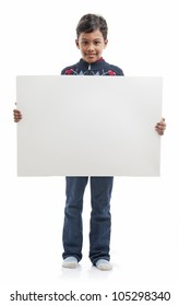 Smiling Boy Holding Blank Board