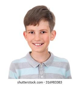 smiling boy isolated on white background