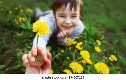 Smiling boy on the meadow with dandelion. Hand adult./Dandelion for mummy