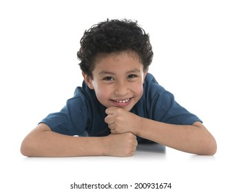 Smiling Boy Portrait Isolated on White Background