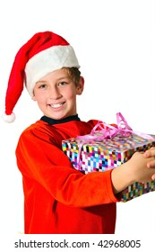 a smiling boy in a red cap, holding a box with a gift