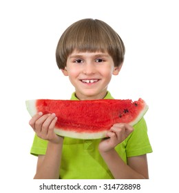 smiling boy with a slice of watermelon