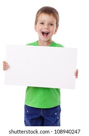 Smiling boy standing with empty horizontal blank in hands, isolated on white