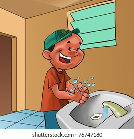 smiling boy washing his hands in a bath room
